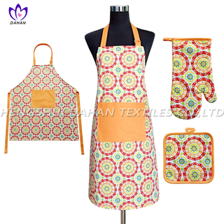 AGP80 Printing apron,oven mitt,pot pad, 3pack.