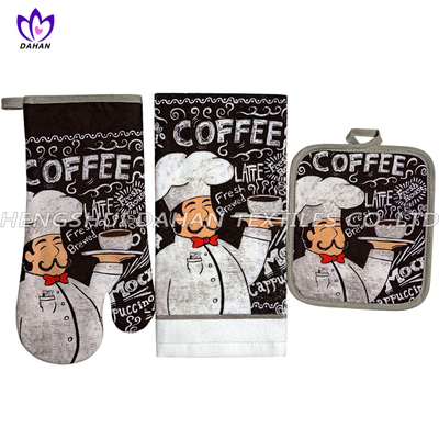 345F~4(2019) 100%cotton printing glove,pot pad, towel 3pack