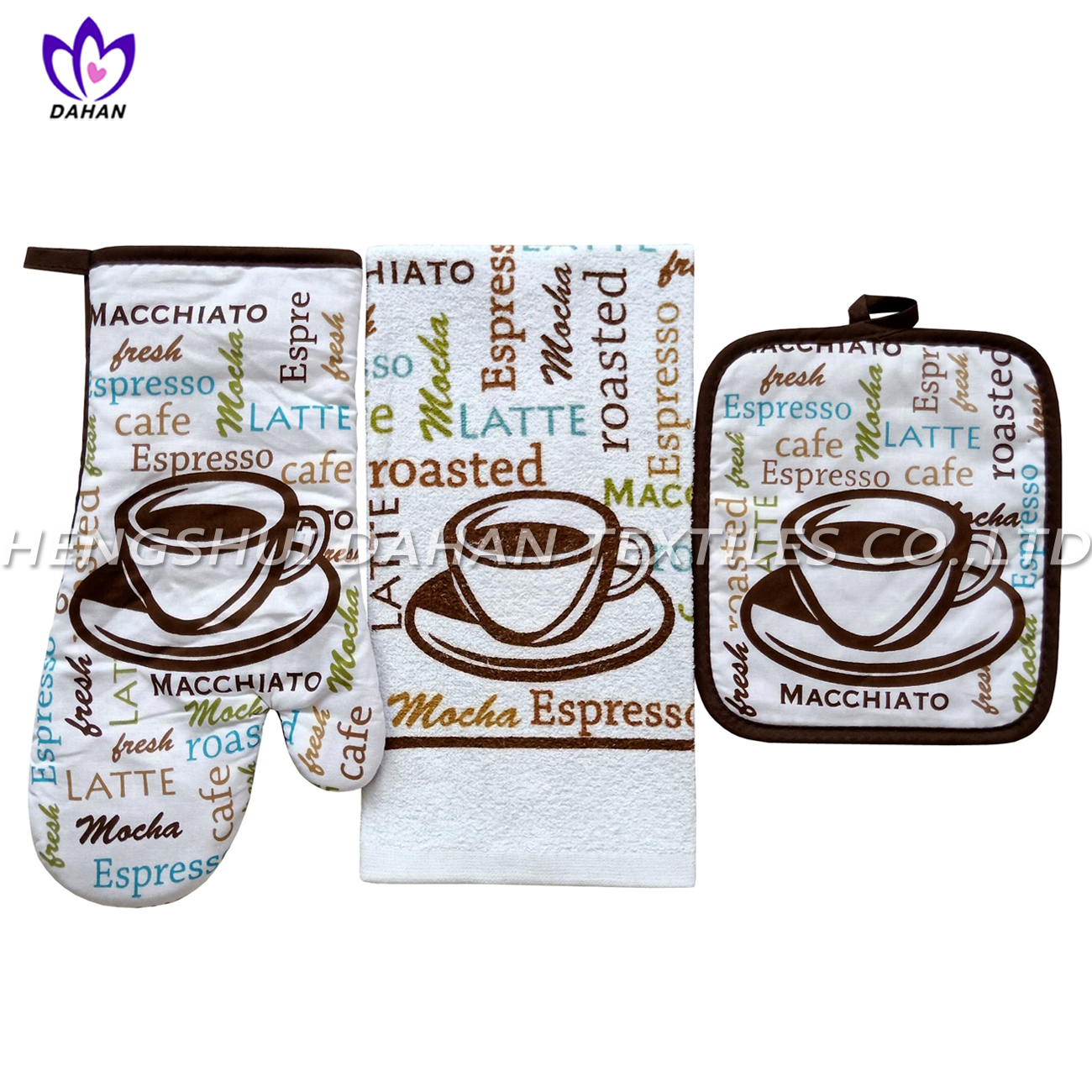 343VW printing glove,pot pad,cotton towel 3pack