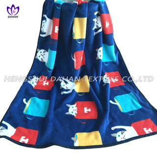 Printed Coral Fleece Blanket Small Size Flannel Blanket for Kids