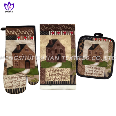 345F-H-PH(2018) 100%cotton printing glove,pot pad, towel 3pack