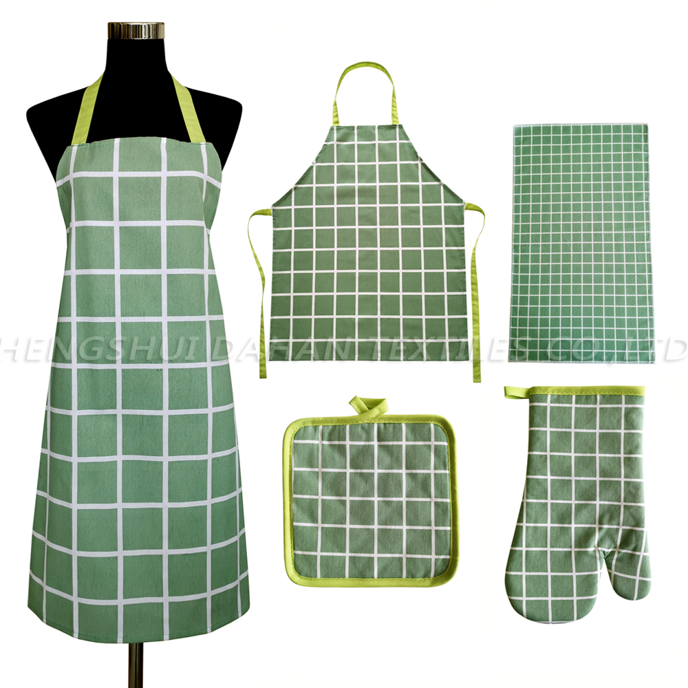 AGP134 Printing apron+glove+pot holder+microfiber towel 4pack.