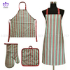 AGP90 Printing cotton twill apron,oven mitt,pot pad,3pack.